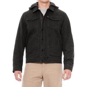 New Levi's Heavy Cotton Canvas Hooded Jacket Black